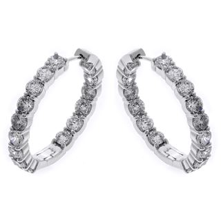 Picture of Oval shape hoops prong set inside-outside