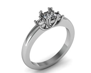 Picture of Trellis three stone ring princess cut stones