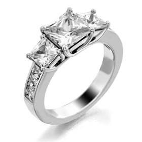 Picture of Trellis three stone ring channel set square stones