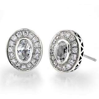 Picture of Bezel set with filigree oval center earrings