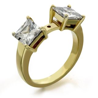 Picture of Emerald cut side stones open center ring