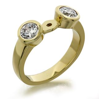 Picture of Bezel set side stones open center ring