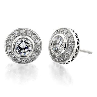 Picture of Bezel set with filigree round center earrings