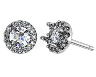 Picture of Halo earrings shared prong set round center