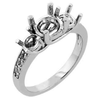 Picture of Trellis three stone ring with accents round stones