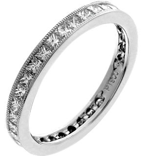 Picture of Princess cut stones channel set eternity band
