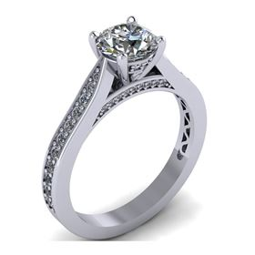 Picture of Solitaire with pave set diamonds on the head