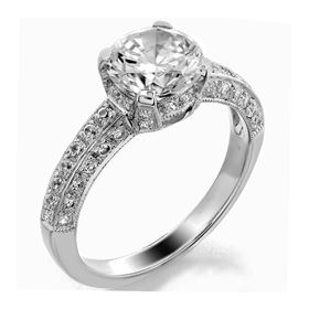 Picture of Solitaire with accents three row pave set 1
