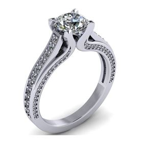 Picture of Solitaire with accents three stone pave set 3
