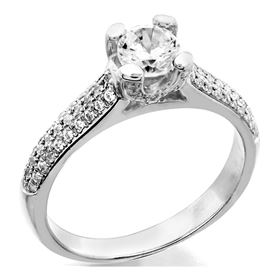 Picture of Solitaire with accents three row pave set 4