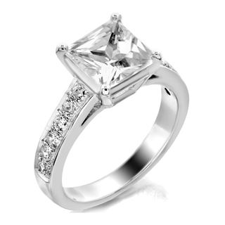 Picture of Solitaire with accents pave set princess cut