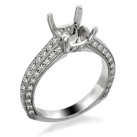 Picture of Solitaire with accents three row pave set