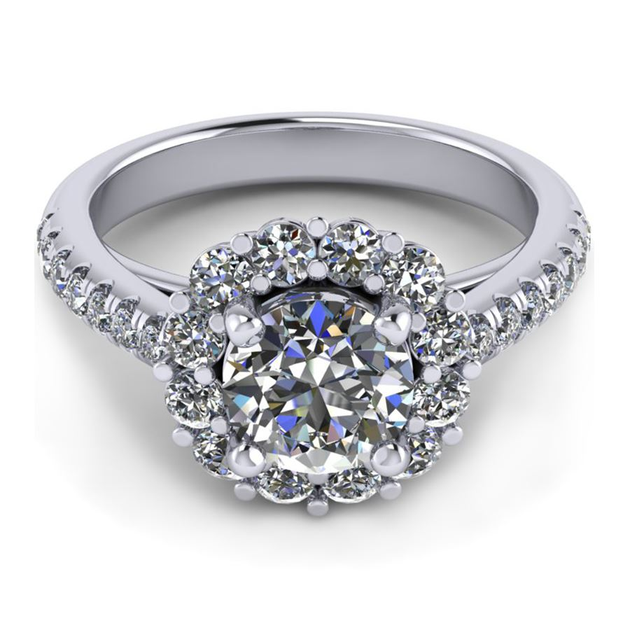 Halo ring flush fit round outline fine jewelry