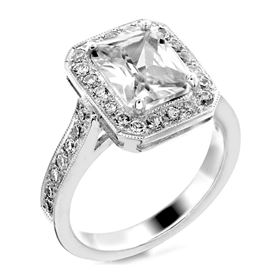Picture of Halo ring emerald outline emerald cut center