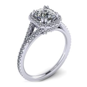 Picture of Halo ring with split shank emerald cut center