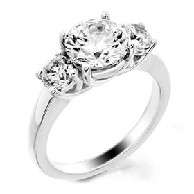 Picture of Trellis three stone ring round stones 2