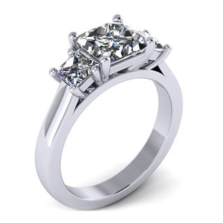 Picture of Three stone ring princess cut stones basket style
