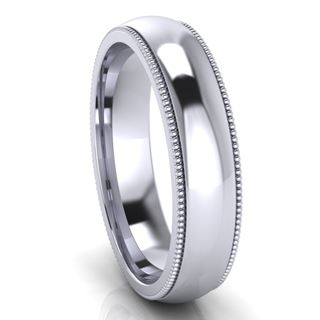 Picture of 5.0mm Platinum Half Round Comfort Fit Band With Milgrain
