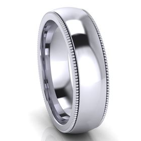 Picture of 6.0mm Platinum Half Round Comfort Fit Band With Milgrain