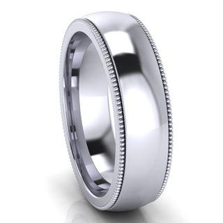 Picture of 6.0mm Platinum Half Round Comfort Fit Band With Milgrain
