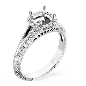 Picture of Halo ring cushion center stone with hand engraving