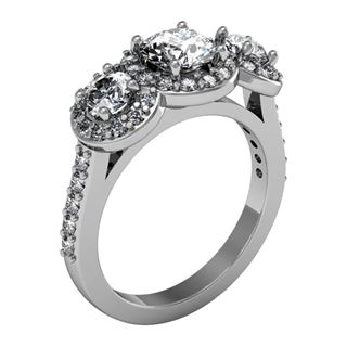 Picture of Three stone halo shared prong set