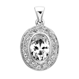 Picture of Bezel pave oval outline pendant