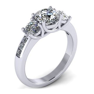 Picture of Trellis three stone ring channel set round stones