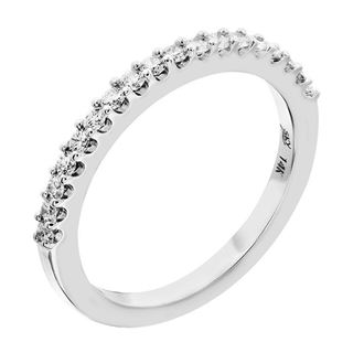 Picture of Shared prong half way wedding band-Flat Side